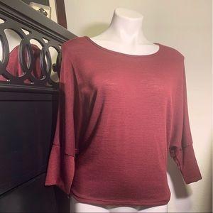 Women's open back 3/4 sleeve blouse size L